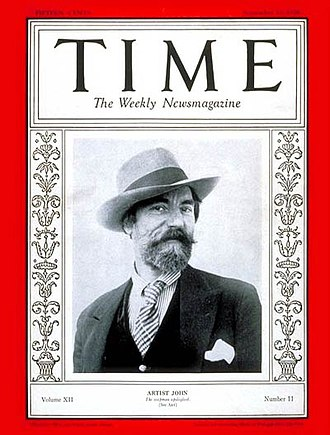 "Augustus John - ""Artist John,"" on a 1928 Time magazine cover"