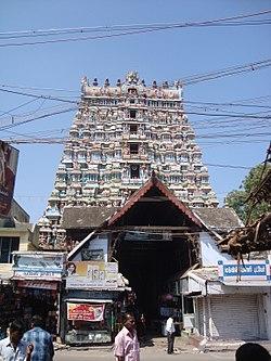 Tirnelveli Gandhimathiamman Temple Tower.JPG