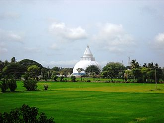 Ancient stupas of Sri Lanka - Tissamaharama Stupa across the paddy fields (Gharbaya, Hatharas Kotuwa, Devatha Kotuwa, Koth Kerella and Kotha of the stupa are visible).