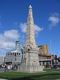 Titanic memorial, Liverpool skyline.jpg