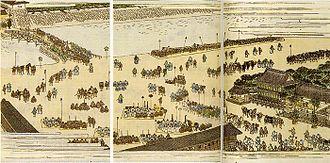 "Sankin-kōtai -  ""En masse Attendance of Daimyo at Edo Castle on a Festive Day"" from the Tokugawa Seiseiroku, National Museum of Japanese History"