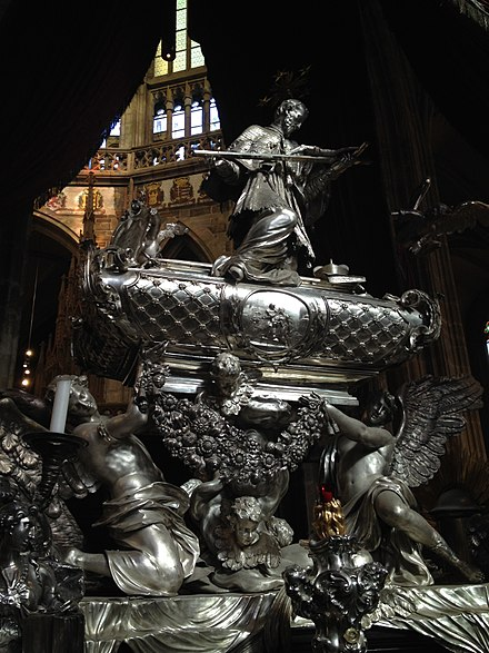 St. John of Nepomuk's Tomb in St Vitus Cathedral, Prague Tomb of John of Nepomuk, Prague.JPG