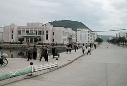 A view of downtown T'ongch'ŏn-ŭp, North Korea.