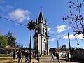 Torre Campanario y palma chilena (vista frontal) - Iglesia de Rere, Yumbel.JPG