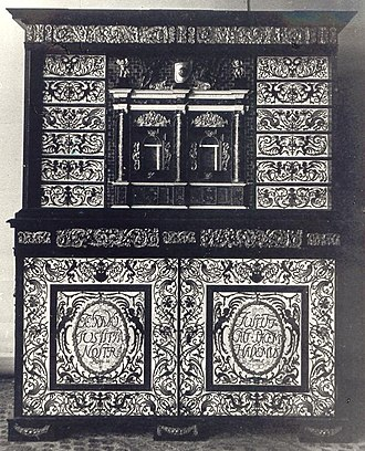 Cabinetry - Tortoise-shell cabinet of Polish king John III Sobieski, looted by the Germans from the Wilanów Palace during World War II