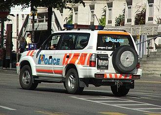 Law enforcement in Switzerland - Toyota Land Cruiser of the Cantonal police of Geneva.