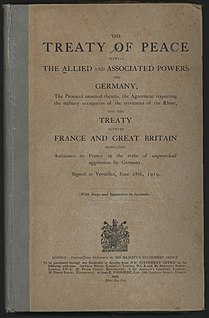 Treaty of Versailles one of the treaties that ended the First World War