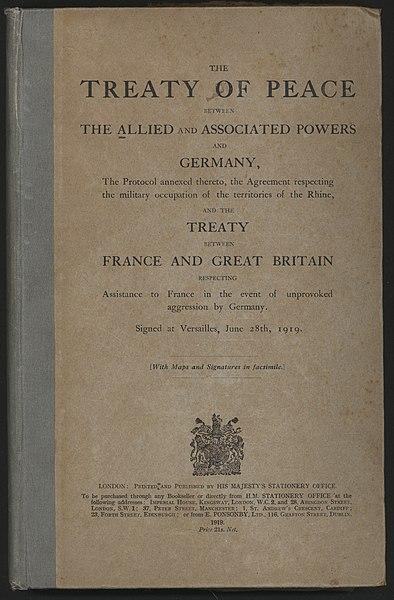 portada del tratado de versalles
