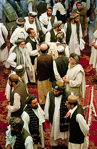 Shura - Tribal and religious leaders gather following a shura held by Afghan President Hamid Karzai in Kandahar.