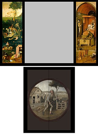 """Ship of Fools (painting) - A reconstruction of the left and right wings of the triptych: at upper left The Ship of Fools; at lower left: Allegory of Gluttony and Lust. Panel at right is Death and the Miser. At bottom """"The Wayfarer"""" which  would have been on the outside of the triptych."""