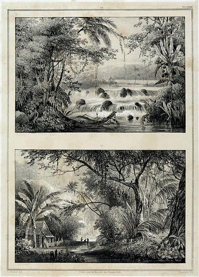 Tropenmuseum Royal Tropical Institute Objectnumber 4079-6 Twee lithos, Waterval bij de Blauwe Ber.jpg