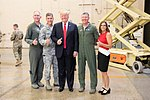 President Donald J. Trump poses for a photo with Brig. Gen. Todd Canterbury, Chief Master Sgt. Ronald Thompson, Col. Bryan Cook and U.S. Rep. Martha McSally, R-Ariz. after participating in a defense capability tour Friday, Oct. 19, 2018, at Luke Air Force Base, Ariz.
