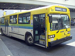 English: A city bus that crosses the U.S-Canad...