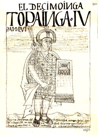 Topa Inca Yupanqui - Drawing by Guaman Poma in 1615