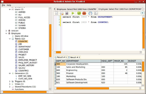 Firebird (database server) - Image: Turbobird screenshot