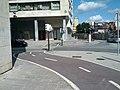 Two-way bikeway sweeps around to crosswalk (18622435808).jpg