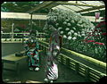 Two young women in Kimonos, one standing, one seated on wooden bench outside open greenhouses filled with blooming flowers. (19761857308).jpg