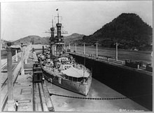 Arizona transits the Panama Canal in 1921