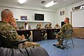U.S. Army Sgt. Alexander Cerney, right, an infantryman with the 4th Brigade Special Troops Battalion, 4th Brigade Combat Team, 101st Airborne Division, sits before board members for Soldier of the Quarter 130715-A-DQ133-028.jpg