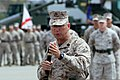 U.S. Marine Corps Sgt. Maj. Scott T. Pile, the outgoing sergeant major of the 11th Marine Expeditionary Unit, gives his speech during a post and relief ceremony at Marine Corps Base Camp Pendleton, Ca., May 16 130516-M-BZ222-009.jpg