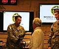 U.S. Sen. Bob Corker of Tennessee, center, shakes hands with U.S. Army Master Sgt. Jose Santana while visiting Camp Integrity, Afghanistan, July 7, 2013 130707-N-QV903-025.jpg