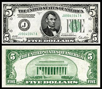 Series of 1928 (United States Currency) - Image: US $5 FRN 1928B Fr 1952 J
