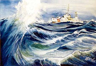 "Action of 1 March 1968 - USCGC Androscoggin, ""Weather decks secure"" by Don Van Liew."