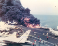 USS Forrestal A-4 Skyhawk burning.png