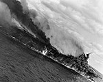 USS Franklin (CV-13) burning off Japan aft view 1945.jpg