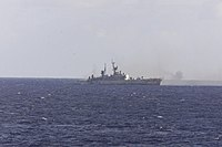 USS Reeves (CG-24) as a target ship off the coast of Queensland, Australia, on 31 May 2001