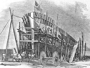 USS Seneca (1861) - Seneca under construction