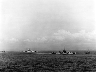 USS Walke (DD-723) - Walke (right center), along with battleship Mississippi, and two other destroyers cover the landings in Lingayen Gulf, 9 January 1945
