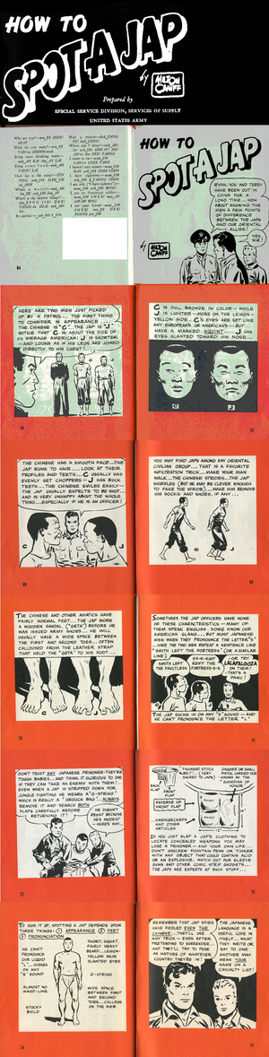 """Cross-race effect - """"How To Spot A Jap"""" (1942), produced by the United States Army, attempts to describe the visual differences between Japanese and Chinese, a distinction that was difficult for US soldiers. Click for a larger image."""