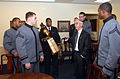 US Navy 040122-N-2568S-002 Cadets from the U.S. Military Academy West Point, and Midshipmen from the U.S. Naval Academy meet with the Secretary of the Navy, the Honorable Gordon R. England during the official presentation of th.jpg