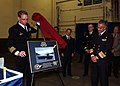 US Navy 040626-N-2788L-071 USS Ronald Reagan (CVN 76) Commanding Officer, Capt. James Symonds, presents a photograph of the ship while transiting the Straits of Magellan, to Chilean Navy Vice Adm. Oscar Manzano Soko.jpg