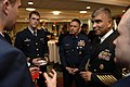 US Navy 080221-N-9818V-058 Master Chief Petty Officer of the Coast Guard (MCPOCG) Charles Bowen and Master Chief Petty Officer of the Navy (MCPON) Joe R. Campa Jr. speak with 1st Class Cadets at a reception held before a Leader.jpg