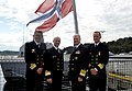 US Navy 100816-N-8273J-095 Chief of Naval Operations (CNO) Adm. Gary Roughead stands with Chief of the Royal Norwegian Navy Rear Adm. Haakon Bruun-Hanssen and other senior leadership aboard HNoMS Otto Sverdrup (F 312).jpg