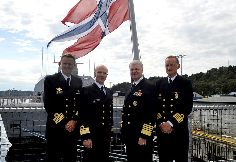 File:US Navy 100816-N-8273J-095 Chief of Naval Operations (CNO) Adm. Gary Roughead stands with Chief of the Royal Norwegian Navy Rear Adm. Haakon Bruun-Hanssen and other senior leadership aboard HNoMS Otto Sverdrup (F 312).jpg