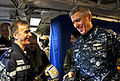 US Navy 110321-N-0000X-039 Adm. Samuel J. Locklear, III speaks with French navy Rear Adm. Philippe Coindreau aboardCharles de Gaulle (R91).jpg