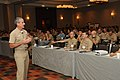 US Navy 110928-N-LW591-109 Rear Adm. Michael P. Tillotson, commander of Navy Expeditionary Combat Command, speaks to attendees at the 2011 Family R.jpg