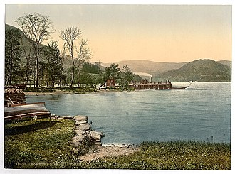 Ullswater - Lake steamer at Howtown Pier, Ullswater, circa 1895.