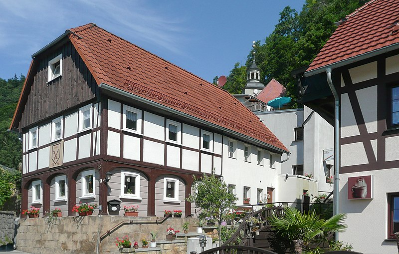 Umgebindehaus in the Hauptstrasse in Oybin