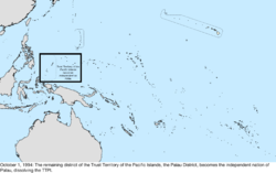 Map of the change to the United States in the Pacific Ocean on October 1, 1994