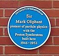 University of Birmingham - Poynting Physics Building - blue plaques group - Oliphant.jpg