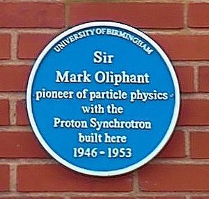 Mark Oliphant - University of Birmingham - Poynting Physics Building - blue plaque