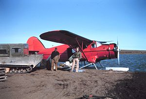 Bush flying -  Float plane in Alaska, 1950