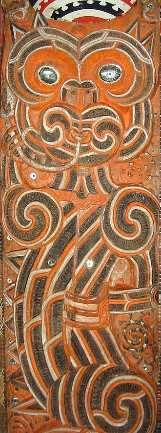 Taniwha - Ureia, guardian taniwha of the Hauraki people. Carving from the meeting house Hotunui, 1878