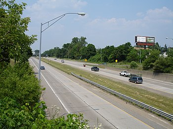 US Route 127 from the Grand River Avenue overpass in Lansing, Michigan.