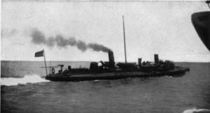 "Torpedo boat ""Porter"" chasing a suspicious sail"