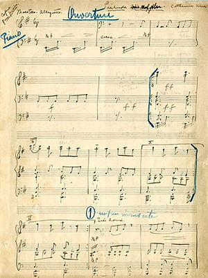Uzeyir Hajibeyov - Uzeyir Hajibeyov's manuscript of Arshin Mal Alan, written in 1913.